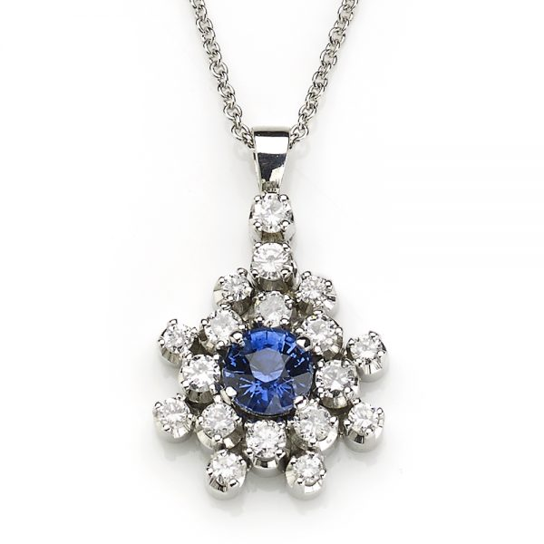 1.05ct Sapphire and Diamond Cluster Pendant