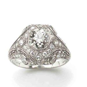 Art Deco diamond ring 1925 1930 features an estimated 1.50 carat old cut diamond