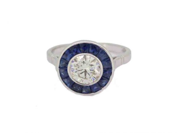 Sapphire and Diamond Target Ring engagement ring round