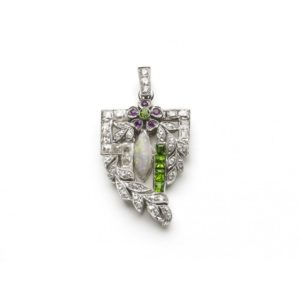 Antique Art Deco Diamond, Opal and Green Garnet Pendant