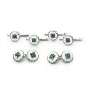Antique Art Deco Emerald Diamond & Enamel Cufflink Dress Set
