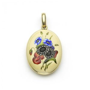 Antique Art Nouveau Enamel Flower Gold Locket