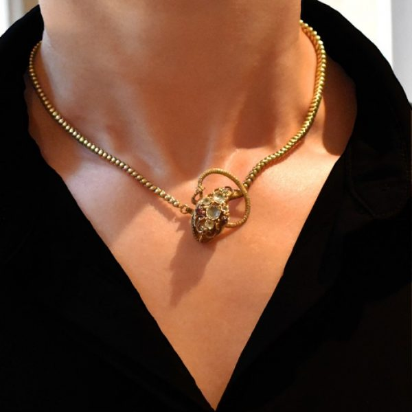 Antique Early Victorian 15ct Gold Snake Necklace