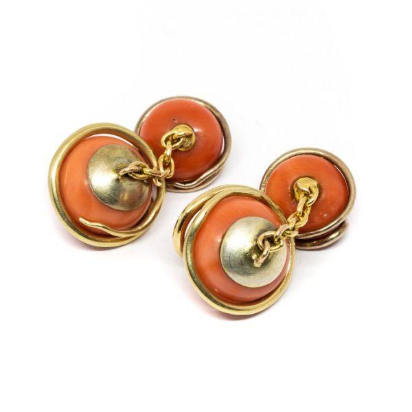 Antique Victorian Coral & Gold Snake Cufflinks