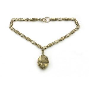 Antique Victorian Etruscan Revival Gold Necklace and Locket