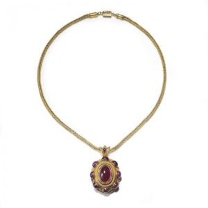 Antique Victorian Garnet Gold Pendant Necklace