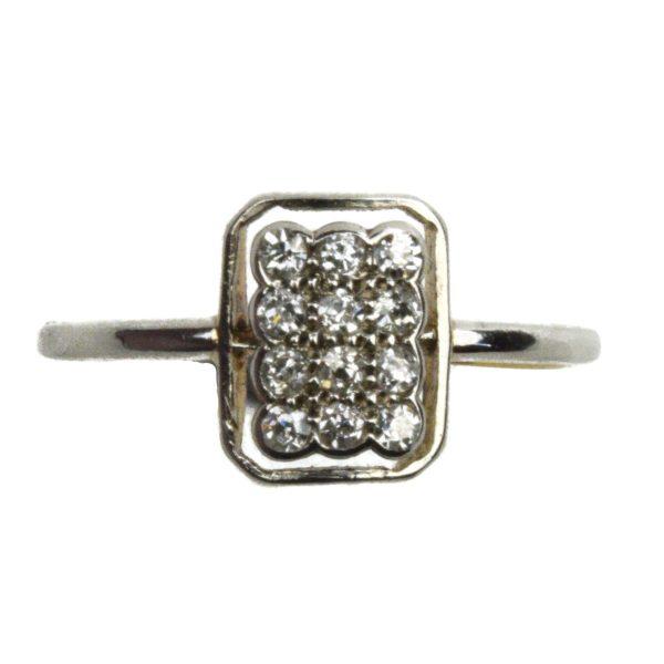 Antique Art Deco Diamond Cluster Ring, Platinum and 18ct Gold