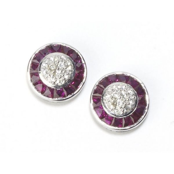 Art Deco Style Ruby and Diamond Cluster Earrings