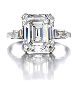 Art Deco baguette cut diamond ring