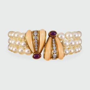 Vintage Coral, Cabochon Ruby and Diamond Three Row Pearl Bracelet