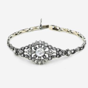 Antique Rose Cut Diamond Bracelet, Silver and Gold