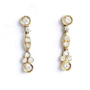 Brilliant Cut Diamond Drop Gold Earrings
