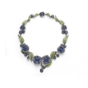Enamel Sapphire Diamond Flower Necklace
