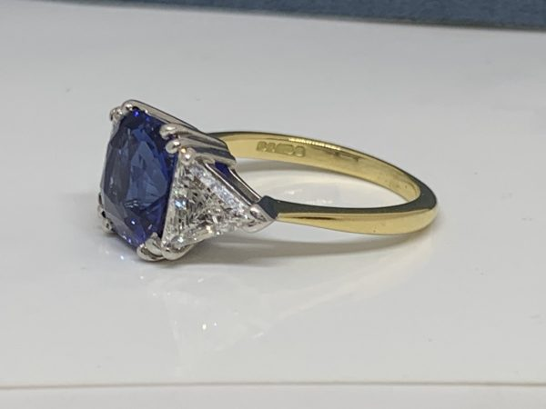 Sapphire and diamond cushion cut engagement ring 4 carats