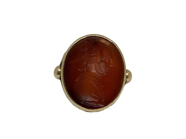 Antique intaglio 19th century ring Carnelian oval yellow gold