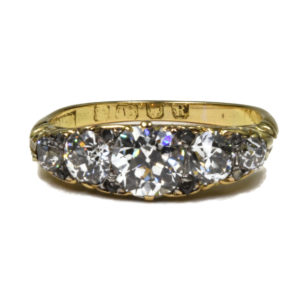 Antique Victorian 2.00ct Five Stone Diamond Ring, 18ct Gold