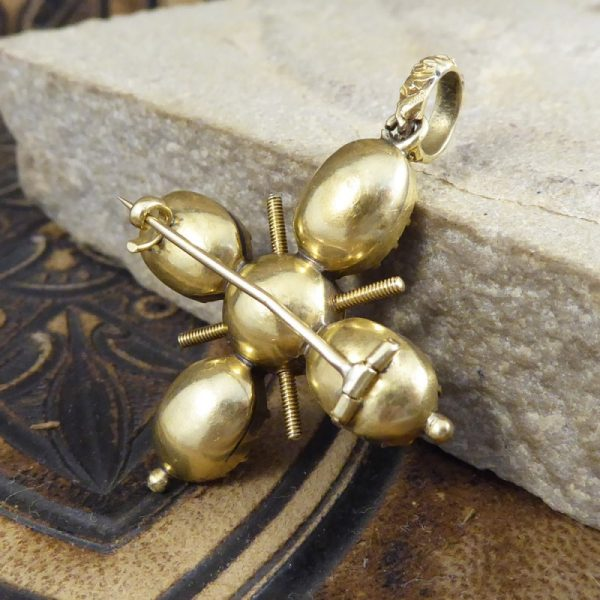 Antique Georgian Foiled Back Paste Cross Pendant in High Carat Gold