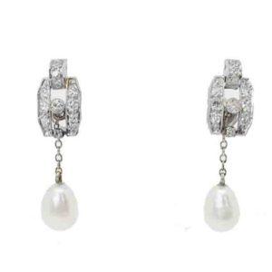 Antique Art Deco Brilliant Cut Diamond and Pearl Drop Earrings