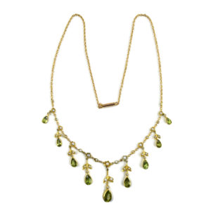 Antique Edwardian Split Pearl and Peridot Necklace in 15ct Gold