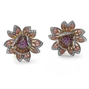 Plique á Jour Enamel Flower Earrings