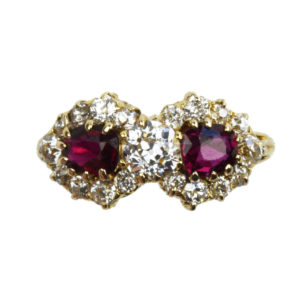 Antique Victorian Ruby and Diamond Fancy Cluster Ring, 18ct Gold
