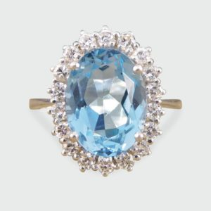 3.60ct Blue Topaz and Diamond Cluster Ring in 18ct White Gold