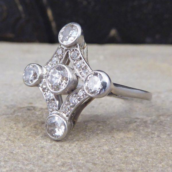 Antique Edwardian Diamond Set Geometric Kite Shape Ring, Platinum