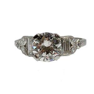 Art Deco Diamond Engagement Ring, 1.51 Carat, F, VS2, Transitional Cut
