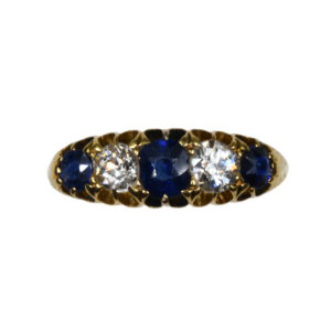 Antique Victorian Sapphire and Diamond Five Stone Ring, 18ct Gold