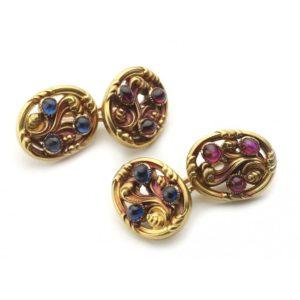 Tiffany Art Nouveau Sapphire & Ruby Cufflinks