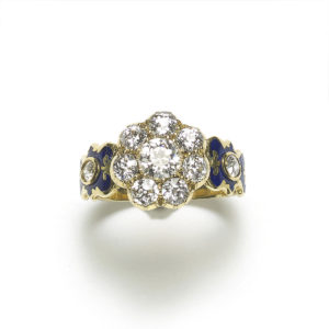 diamond blue enamel diamond cluster ring antique victorian 19th