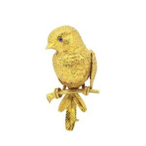 VCA Van Cleef & Arpels bird 18 Gold Brooch by Georges L'enfant, Paris, 1950s