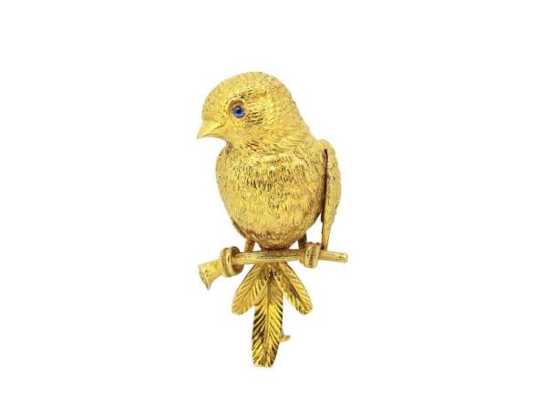 VCA Van Cleef & Arpels bird 18 Gold Brooch by Georges L'enfant, Paris, 1950s
