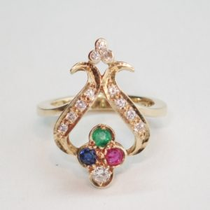 Vintage Ruby, Sapphire, Emerald and Diamond Ring
