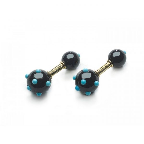 Vintage Tiffany & Co Schlumberger Onyx and Turquoise Cufflinks