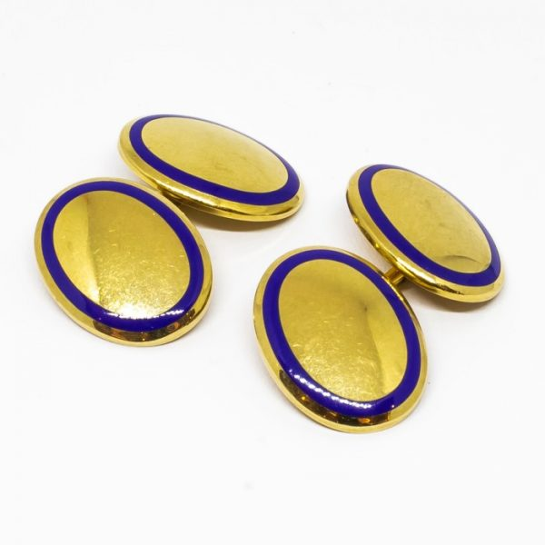 Vintage Tiffany & Co. Gold and Enamel Cufflinks