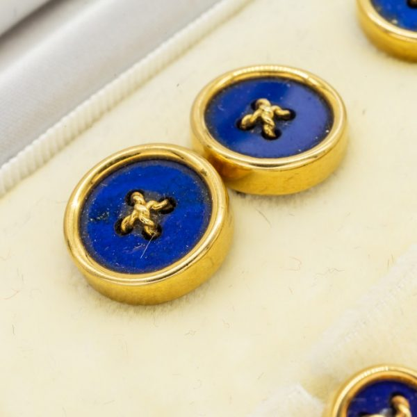 Vintage Tiffany & Co. Lapis Lazuli Gold Button Dress Set
