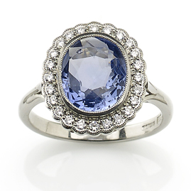 3.16ct Sapphire and Diamond Cluster Ring in Platinum