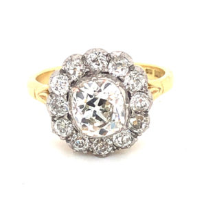 Antique style diamond cluster ring old mine engagement ring gold 2 carats