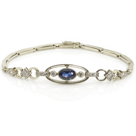 Sapphire and Diamond Set Link Bracelet in Platinum and 18ct White Gold