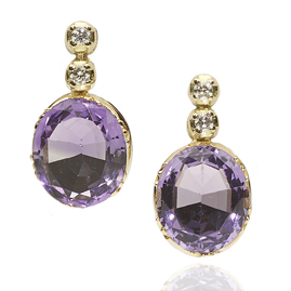 Diamond Topped Amethyst Drop Earrings