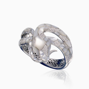 Snake bangle mop mother of pearl serpent diamond