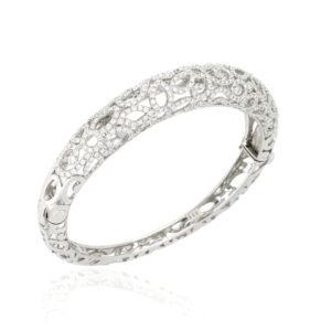 18ct White Gold Diamond Set Bangle, 3.43ct