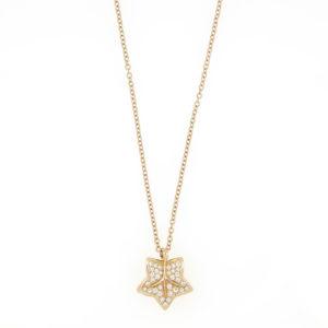 Diamond Set Leaf Pendant Necklace, 18ct Yellow Gold