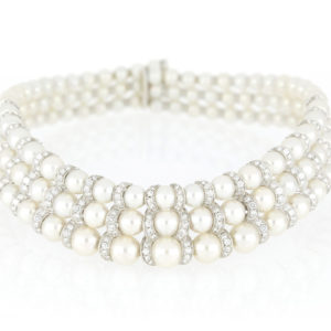 Fine Pearl and Diamond Three Row Necklace