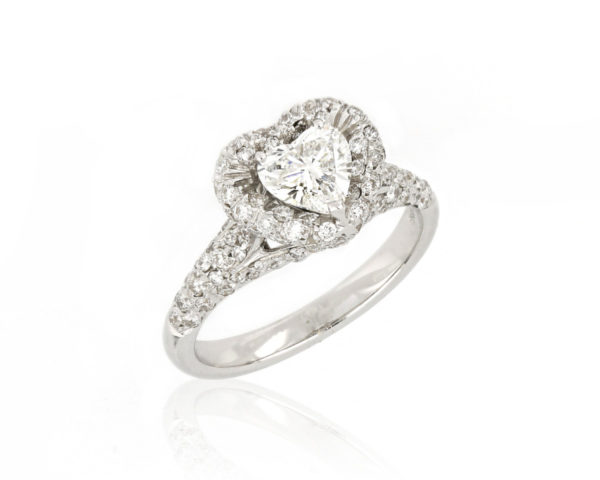 Heart Shaped Diamond Cluster Engagement Ring, 18ct White Gold