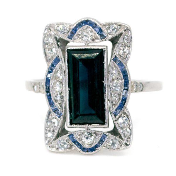 Antique Art Deco 2.50ct Sapphire & Diamond Ring