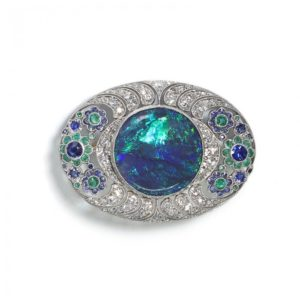 Antique Art Deco Black Opal Diamond Brooch