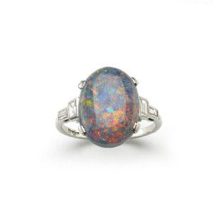 Antique Art Deco Black Opal & Diamond Ring