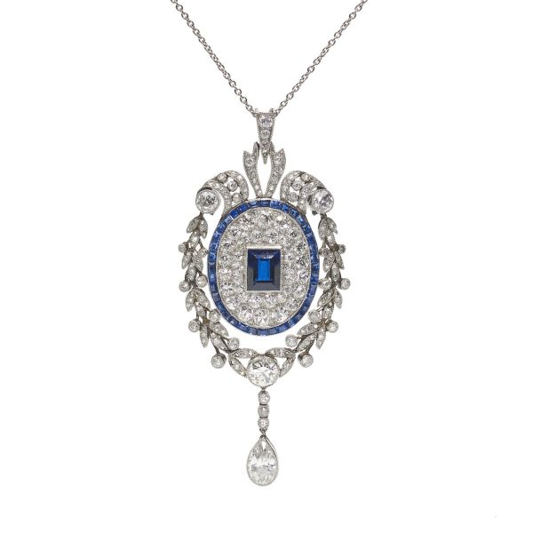 Antique Early Art Deco Sapphire Diamond Platinum Pendant